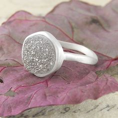 Circular Crystalised Quartz Druzy Silver Ring - Stunning to behold, this circular sterling silver ring features a genuine sparkling druzy stone set into a gently textured band. #Embersjewellery #Jewellery #MotherDay #Present