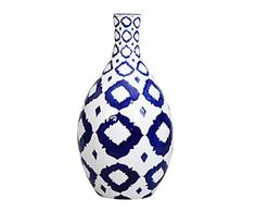 Vaso in ceramica blu e bianco Toaste, 22x40 cm