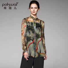 POKWAI High Quality Original Designed 100% Silk Shirt Women Full Sleeve Stand Collar Print Casual Tops #Affiliate