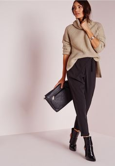 Chunky Roll Neck Jumper Nude - Knitwear - Jumpers - Missguided