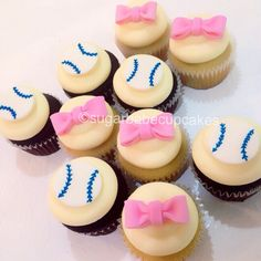 gender reveal cupcakes  Baseballs or Bows?