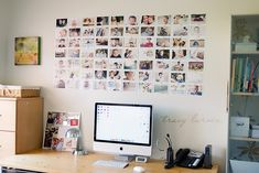 Love this photo display... Paper covered canvas to stick photos securely... Develop white frame