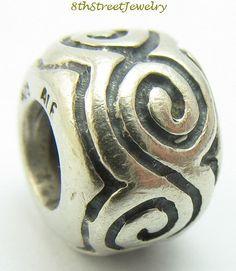 RETIRED Pandora European Bead Charm Sterling Silver 925 LARGE SWIRLS 790228 #Pandora #European