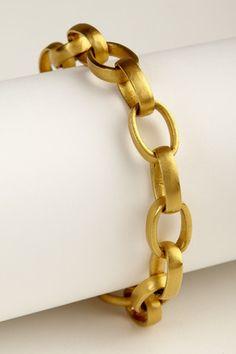LINK BRACELET LARGE IN YELLOW GOLD Modern Jewelry, Gold Jewelry, Fine Jewelry, Jewellery, Link Bracelets, Bangle Bracelets, Statement Bracelets, Andrea Gutierrez, Chain Reaction