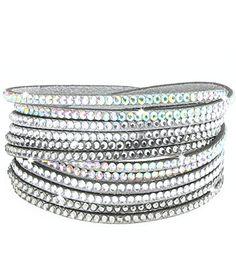 caripe Damen Armband Wickelarmband Glitzer Steine viele Designs + Farben - strala (Modell 1 hellgrau) - http://schmuckhaus.online/caripe/modell-1-hellgrau-caripe-damen-armband-glitzer-2