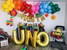 UNO Letter with Number 1 Foil Mylar Balloons Mexican Birthday Parties, Boys First Birthday Party Ideas, Mexican Fiesta Party, Fiesta Theme Party, Birthday Themes For Boys, 1st Boy Birthday, Taco Party, Fiesta Party Decorations, 1st Birthday Party Decorations
