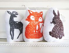 Woodland Creature pillows by Laura Frisk