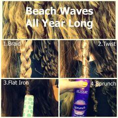 Beach Waves with Aussie Sprunch Spray