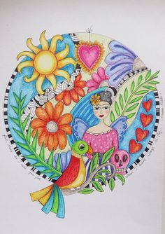 Madeleine de Kemp made this Frida mandala Doodles Zentangles, Doodle Drawings, Make Art, Painted Signs, Fractals, Color Inspiration, Egyptian, Medieval, Lily