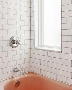 Pink Bathroom Vintage, Vintage Pink, Small Bathroom Organization, Bathroom Ideas, Bathroom Inspo, Delta Fixtures, Yellow Brick Houses, Pink Bathtub, Frosted Glass Window