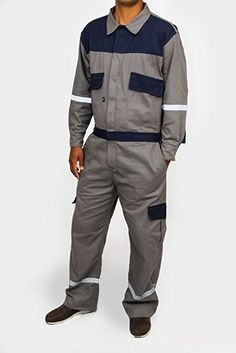 Amazon.com: Kolossus men work deluxe long sleeve cotton coverall with reflective tape KC01 (XL Regular, Gray): Clothing Uniform Shirts, Work Uniforms, Cotton Gloves, Business Casual Men, Bib Overalls, Work Jackets, Work Wear, Fashion Brands, Military Jacket
