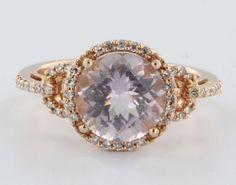 Ruby Lane   estate Pave Diamond Amethyst Princess 14 karat rose gold cocktail ring