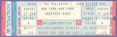 Grateful Dead Unused Concert Ticket The Palladium New York NY April 30 1977 up for auction at my eBay store Treasuresinmyhome