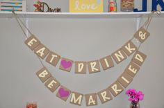Eat Drink and Be Married - Ivory and Purple Accents on Etsy, $26.50