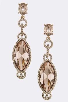 FACETED JEWEL LINK EARRINGS -Copper