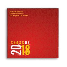 Artistic Red and Yellow Class of 2018 Envelope - graduation gifts giftideas idea party celebration