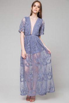 J4 Bohemian Blue Romper Maxi Dress