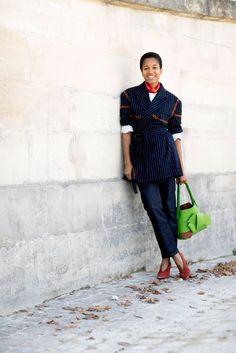 Tamu McPherson found small ways to play with the uniform — add a bandana, belt a blazer, or add interest wi...