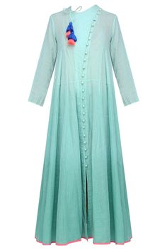Old green ombre dyed calf length chi dress available only at Pernia's Pop Up Shop. Pakistani Dresses, Indian Dresses, Indian Outfits, Kurta Designs, Blouse Designs, Dress Designs, Indian Attire, Indian Wear, Salwar Kameez