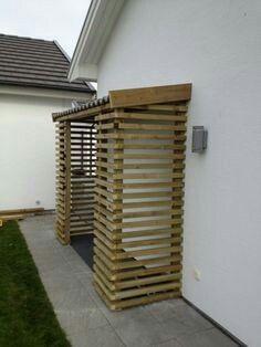 Every thought about how to house those extra items and de-clutter the garden? Building a shed is a popular solution for creating storage space outside the house Firewood Storage, Shed Storage, Patio Storage, Storage Ideas, Bike Shelter, Bicycle Storage, Wood Store, Bike Shed, Wood Shed