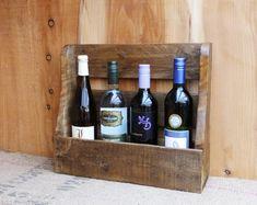 Rustic wine rack/ 4 bottle holder  pallet wood by NewPurposeDesign