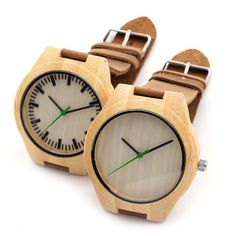 Bamboo wood watch w/leather straps