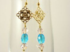 Gold tone Pink and Blue Crystal Dangle Earrings by gr8byz on Etsy, $9.00