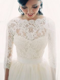 Beautiful lace sleeves wedding dress! Clary Pfeiffer Photography