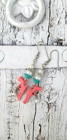 Pink and Turquoise Pistol Earrings GUN by SecretStashBoutique