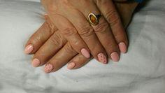 #Semilac#nail art#pink#peach pink milk