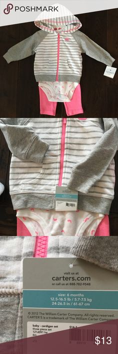 NWT 3 piece Carters set perfect for spring 🌷 Adorable NWT 3 piece set for spring. Includes hoodie, onesie and pants.  Pink whale details.  6 months. Carter's Matching Sets