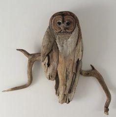 CHOUETTE, cette utilisation de bois flotté ! / Owl driftwood.