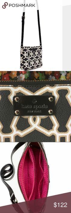 "Kate spade cross body bag black/coffee/Cream Kate spade Moroccan market Chrissy.  Pebbled vinyl Cross-body bag with a zip-top closure Interior slide pockets and interior zipper pocket 5.5""h x 9.4""w x 2.3""d 21""-23"" adjustable strap EUC kate spade Bags Crossbody Bags"