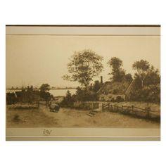 1891 Etching In Original Oak Frame