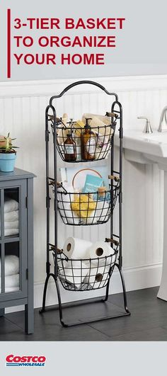 Gourmet Basics by Mikasa Harbor 3-tier Market Basket. This 3-Tier Market Basket Stand is an attractive storage solution for any room of the house.  It features 3 large baskets, each with natural acacia wood handles for a touch of rustic flair.  The stacked design creates a striking display and easy access to the items within.  The rack easily converts into a 2-tier stand, allowing you to use the remaining basket separately.