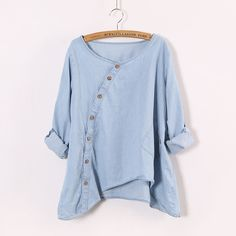 Blue Round Neck Long Sleeve Loose Denim Blouse- I bet this would look amazing with white pants Looks Style, Style Me, Denim Blouse, Denim Shirts, Roll Up Sleeves, Grunge Style, Mode Inspiration, Mode Style, Refashion