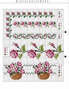 Gráficos de Barrados de Flores para Ponto Cruz