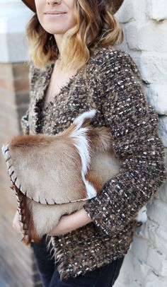 Brow Knit Jacket and Fur Clutch