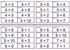 Addition and Subtraction flash cards! 356 total--free and ready to print or download. Click the image to be brought to the webpage. On the webpage click the big red + or - sign. On the new page, the print and download buttons are in the top left corner.