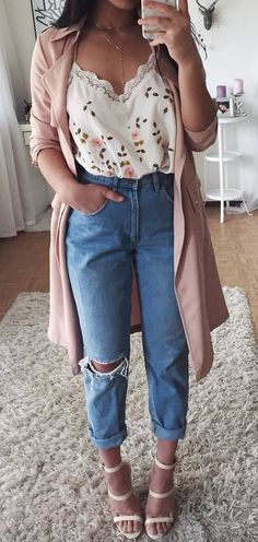 Top| Blouse| White| V neck| Cleavage| Sleeveless| Arm| Tucked in| Floral| Patterned| Pink| Green| Jeans| Denim| Boyfriend| Ripped| Distressed| Ankle| Cardigan| Coat| Trench| Mauve| Necklace| Gold| Pearl| Shoes| Sandals| Nude| Leather| Beige| Tan| Sprig| Fall| Autumn| P357