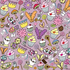 My Purple fluttercakes fabric by gazeofdolls on Spoonflower - custom fabric in this weeks birthday themed contest!