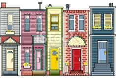 Row of Houses Royalty Free Stock Vector Art Illustration