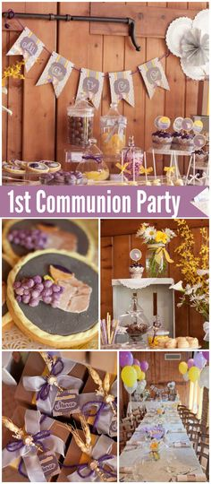 You must see this lovely rustic first communion party! See more party ideas at CatchMyParty.com!