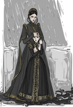 The Dona Corvere and young Mia at her father's execution, by PhantomRin
