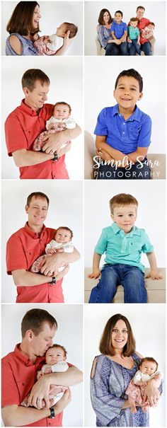 Family Photo Ideas & Poses - Parents, Kids & Baby - White Backdrop - Colorful Shirts - Billings, MT Family & Portrait Photographer