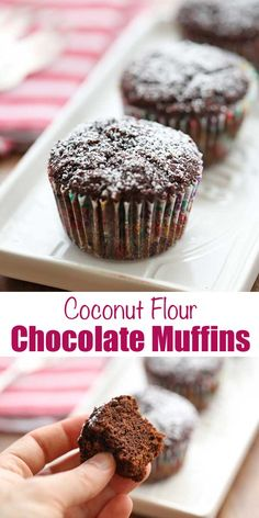 Tasty and indulgent coconut flour chocolate muffins taste rich and decadent, but they are low in calories and high in fiber. Coconut Flour Chocolate Cake, Coconut Flour Muffins, Coconut Flour Cakes, Baking With Coconut Flour, Chocolate Muffins, Low Carb Chocolate Cake, Coconut Oil, Gluten Free Sweets, Gluten Free Baking