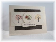 """Stamps: Trendy Trees   Paper: Confetti White, Early Espresso   Ink: Early Espresso, More Mustard, Cajun Craze, Old Olive   Accessories: Square Lattice embossing folder, 1 3/4"""" circle punch, modern label punch, itty bitty shapes punch pack, mini brad, dimensionals"""