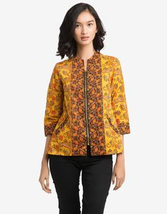 Arjuna Weda Blouse Batik Kembang Parsley - Kuning