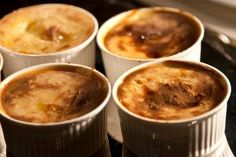 individual moussakas with shrimp! Shrimp, Pudding, Dinner, Cooking, Desserts, Recipes, Food, Dining, Kitchen