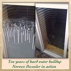 One of my favorite products!  The Norwex descaler is a non-toxic version of CLR.  Shower doors, the ring around your sink, the white stuff on your water dispenser on the fridge....it's great!!